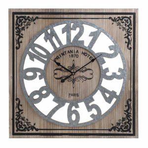 Ρολόι Τοίχου Inart Ξύλινο/Μεταλλικό Νatural/Γκρι