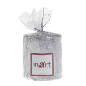 Κερί inart Παραφίνης Με Glitter Ασημί Δ7x7.5 εκ.