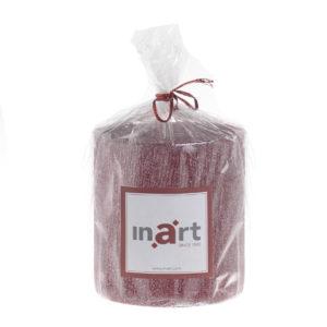 Κερί inart Παραφίνης Με Glitter Κόκκινο Δ7x7.5 εκ.